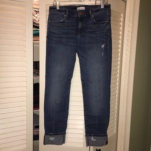 Loft modern destructed straight jeans